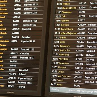 The expected storm has led to the cancellation of about 60 flights at Heathrow