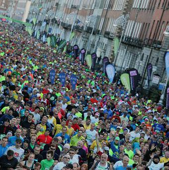 A man is in serious condition in hospital after he collapsed at the finish line of the Dublin Marathon