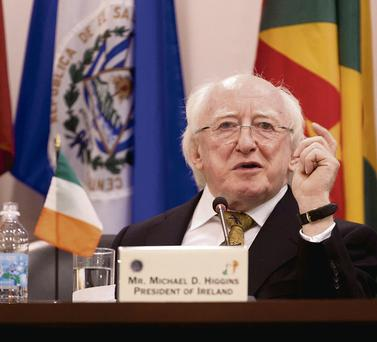 President Michael D Higgins speaking to the Inter-American Court of Human Rights in Costa Rica.