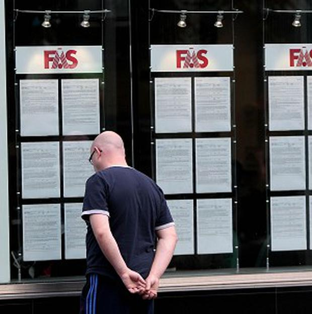 The number of people on the dole has dropped below 400,000 for the first time in more than four years