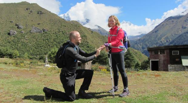 Proposal: David pops question to Mairead on fundraising group's Everest trip