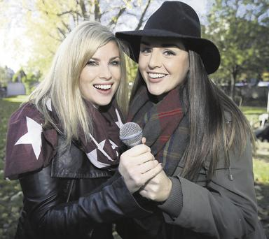 Sile Seoige, right, with DJ Jenny Buckley at the launch of the Improv Charity Show