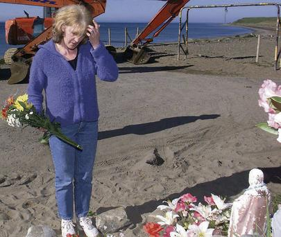 Helen McKendry on the beach in Co Louth where her mother was found