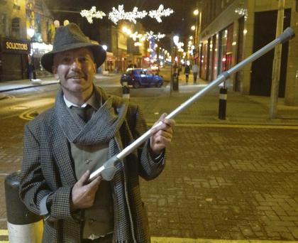 Dubliner Ray Connolly with the crutch he used to attack Bertie Ahern