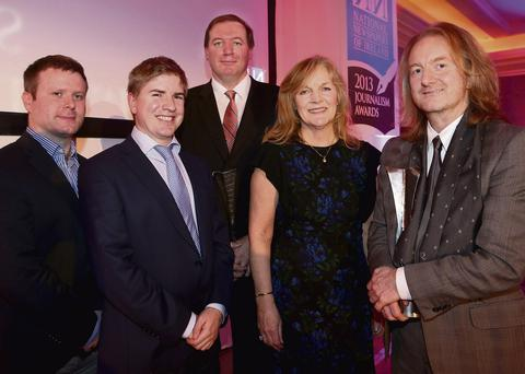 Successful team: Gavin Sheridan, Tom Lyons, Neil Francis, Anne Harris and Barry Egan at the award ceremony last Thursday