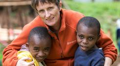 Gena Heraty, from Co Mayo, caring for children at the orphanage. MARK CONDREN