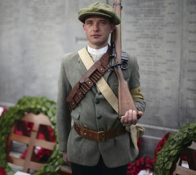 Samuel Stewart, of the Last Post Great War Society, as an Ulster Volunteer in Glasnevin Cemetery
