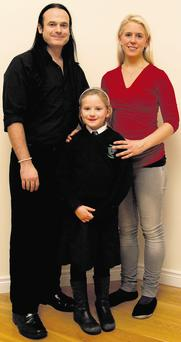 Shane Kelly with his wife Susanne and daughter Maisie (6) who is a pupil at Termonfeckin National School, Co Louth. TOM CONACHY