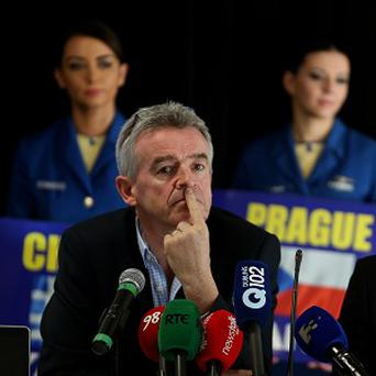 Ryanair's Michael O'Leary with DAA chief executive Kevin Toland at an announcement of new Dublin routes