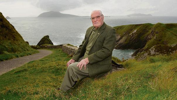 DREAMS OF CHILDHOOD: Dr Micheal O Cearna, the oldest surviving person born on the Blasket Islands, pictured on a return visit to Great Blasket.