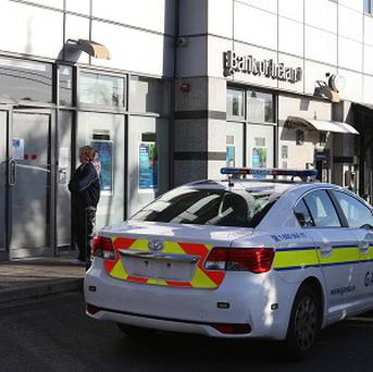 Gardai outside the branch of Bank of Ireland in Donnybrook, south Dublin, following a robbery