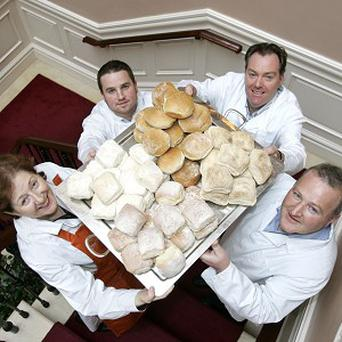 Members of the Waterford Blaa Bakers Association celebrate after the Waterford blaa was given new legal protection against imitators