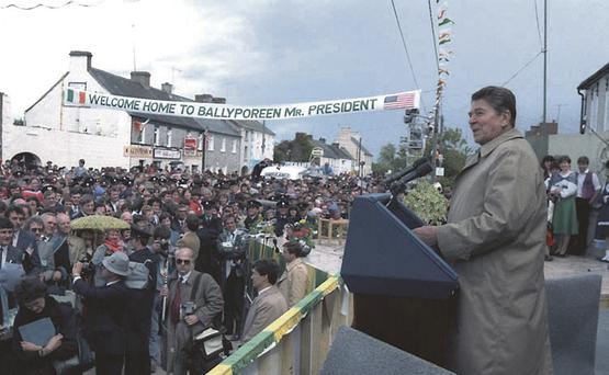US President Ronald Reagan addressing the crowd in Ballyporeen, Co Tipperary, during his visit in 1984.