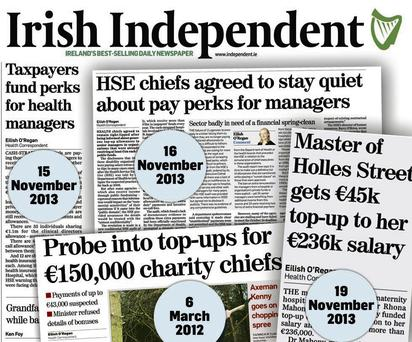 Stories in this newspaper as far back as March 2012 revealed the story of private 'top-up' payments to health bosses