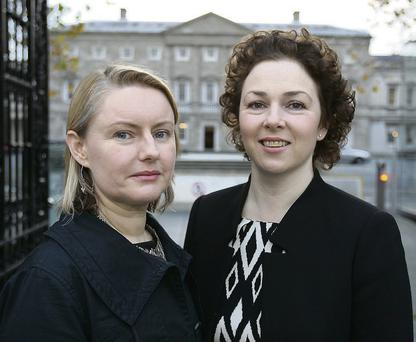 Tracy Brennan, right, and Annette Moloney, two Lyme disease patients who attended the Oireachtas Committee. Tom Burke