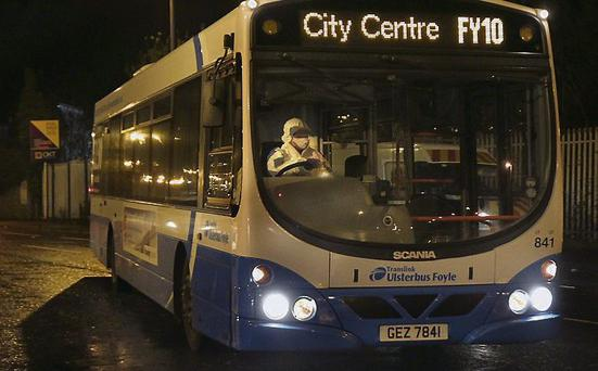 The bus in Derry used in the attempted bomb attack. Margaret McLaughlin