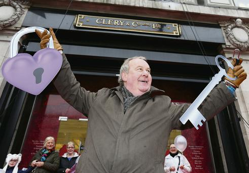 Richie Niven from Clontarf was the first person through Clerys' doors at 11am yesterday