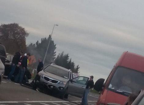 The moment armed gardai forced two suspected raiders from a seven-strong gang to bring their stolen vehicle to a halt