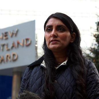 Aneeta Prem, founder of the Freedom Charity, talking outside Scotland Yard in London about the rescue of three women who were allegedly held in a house for 30 years
