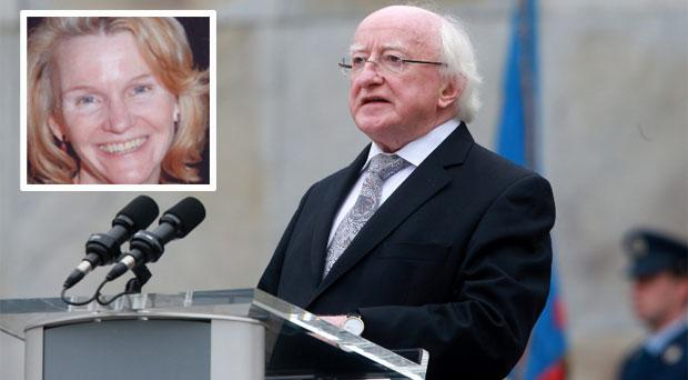President Michael D Higgins and inset, his aid Mary van Lieshout, who has taken up a role with the aid agency, GOAL.