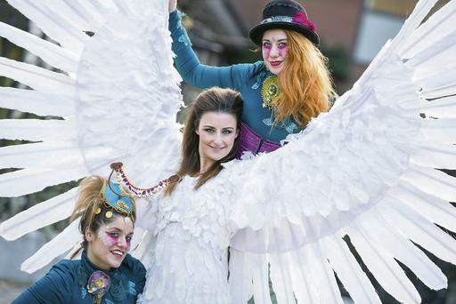 Ayesha Mailey and Janie Doherty with angel Ashlene McFadden at the launch of Dublin's New Year Festival.
