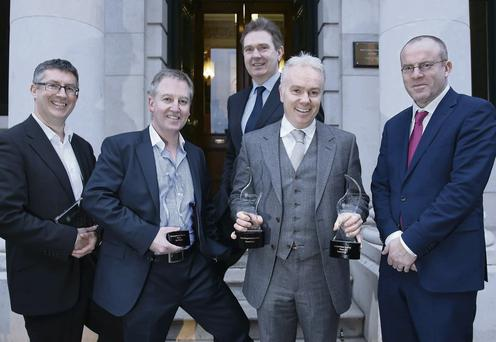 From left: John Mulligan, who was shortlisted for an award; Paul Williams, winner for the Anglo Tapes story; INM Editor-in-Chief Stephen Rae; Outstanding Achievement winner Richard Curran; and Group Head of News Ian Mallon
