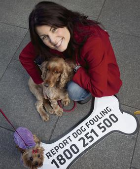 Actress and writer Tara Flynn with her dogs Oscar and Fairy at the launch of the new drive against dog fouling.