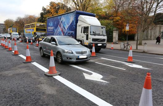 Traffic at the new layout on St. Stephen's Green, which caused congestion this morning