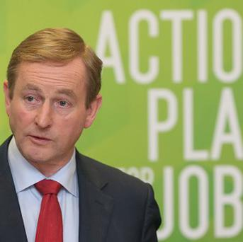 Taoiseach Enda Kenny speaking at a press conference on job creation at Government Buildings