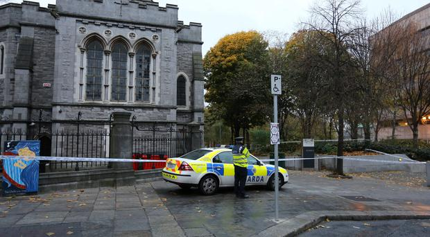 The scene of an assault at the rear of Christ Church Cathederal at Fishamble Street, this morning.
