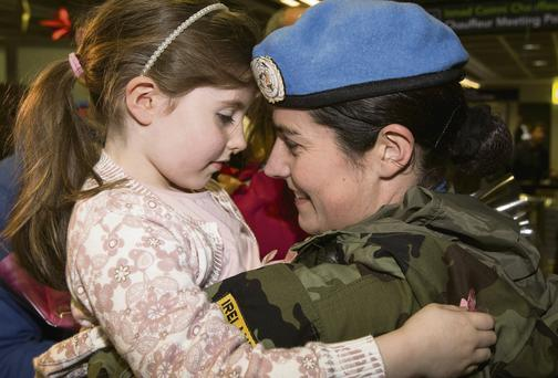 Lorraine Fahy with her daughter Isabel after arriving home from a six month tour of duty from the Lebanon