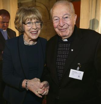 Sabina Higgins with Fr Michael Sinnott at the ceremony for Irish missionaries.