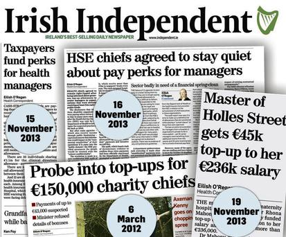 Stories in the 'Irish Independent' as far back as March 2012 revealed the story of private 'top-up' payments to health bosses.