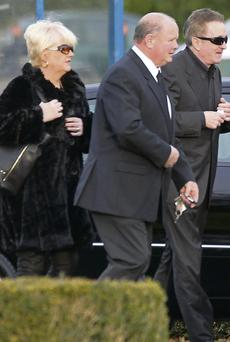 Kevin McGeever (right, wearing sunglasses) at the funeral of his partner, Siobhan O'Callaghan at the Church of Our Lady of Victories, Dublin.