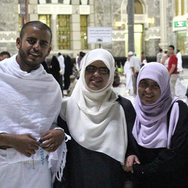 Ibrahim Halawa with sisters Fatima, Omaima and Somaia who were among hundreds of people forced to leave the Al Fateh mosque in Cairo by Egyptian security forces.