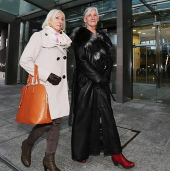 Fraud victim Vera McGrane (right) after the sentencing of former solicitor Thomas Byrne at the Criminal Courts of Justice in Dublin