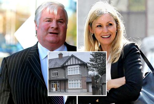 Larry O'Mahony and his wife Christine Connolly. Inset: their former home on Shrewsbury Road