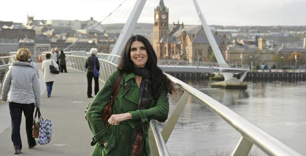 A bright brand new day: Kathy Donaghy on the Peace Bridge over the River Foyle