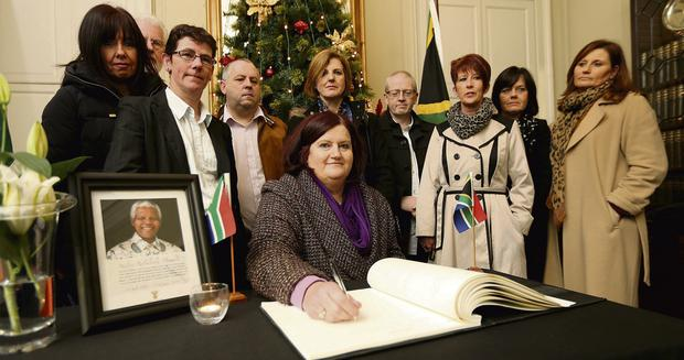 FAREWELL TO THE INSPIRATION: Mary Manning and former colleagues at the Mansion House. Photo: Gerry Mooney