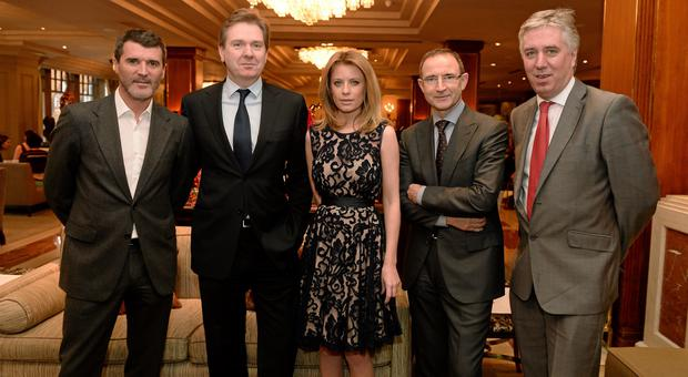 Pictured at the Croke Park Hotel / Irish Independent Sportstar of the Year Luncheon 2013 were from left: Roy Keane, Republic of Ireland Assistant Manager; Stephen Rae, Editor-in-Chief, Independent Newspapers; Rachael Wyse, Independent Sports Columnist; Martin O'Neill, Republic of Ireland Manager and FAI Chief Executive John Delaney.