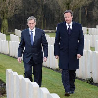 Prime Minister David Cameron and Irish Prime Minister Taoiseach Enda Kenny visit Wytschaete Memorial Cemetery where the Irish 16th Division and the Ulster 36th Division are buried after suffering losses in the First World War, in Heuvelland, Belgium.