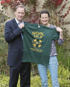 GOAL chief Barry Andrews with Olympic star Sonia O'Sullivan who will be running her mile in Melbourne