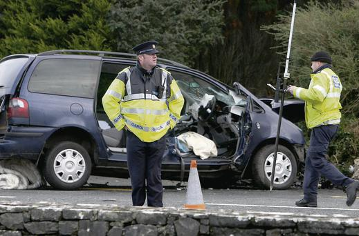 The scene of a single-car crash at Moyleen, Loughrea, Co Galway. Hany Marzouk