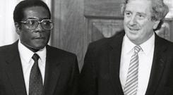 Robert Mugabe, prime minister of Zimbabwe, and Taoiseach Garrett FitzGerald in Dublin Castle.