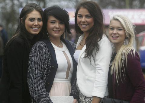 Susan Sheehan, Sarah Mulqueen, Lauren Enright and Emma Downes, all from Limerick, enjoyed a day at the races. Brian Arthur/ Press 22