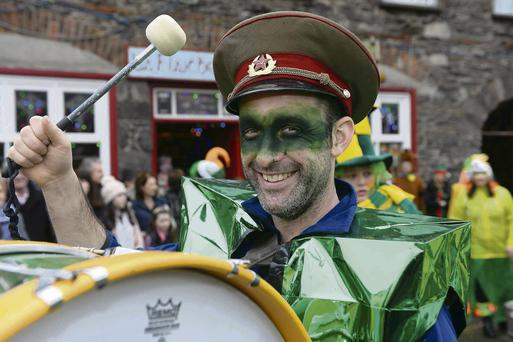 Members of the Green and Gold Wren get set for 'The Wren' march in Dingle Town, Co Kerry. Photo: Domnick Walsh
