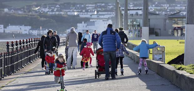 Strollers at Bray Seafront.