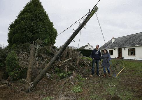 An articulated truck narrowly missed the home of Niall Kavanagh and Rosaleen O'Kane. Photo: Michael Scully