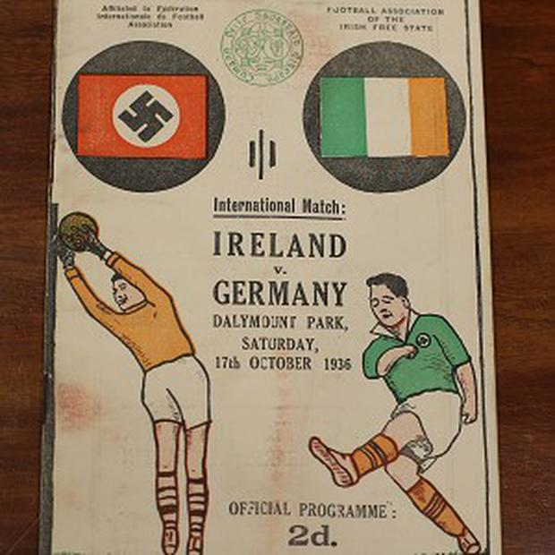 The cover of an Ireland v Germany football programme that is going up for auction