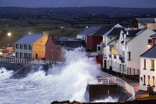 Huge waves batter the seafront in Lahinch, Co Clare, yesterday. Press 22